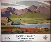 Welsh Railway Travel Poster, The Snowdon Range, North Wales by  Norman Wilkinson and LMS